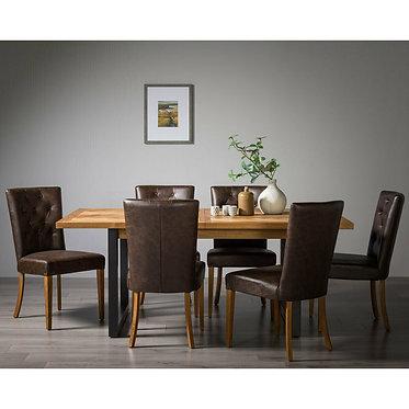 Bentley Designs Herringbone Rustic Oak Extending Dining Table + 6 Chairs, Seats