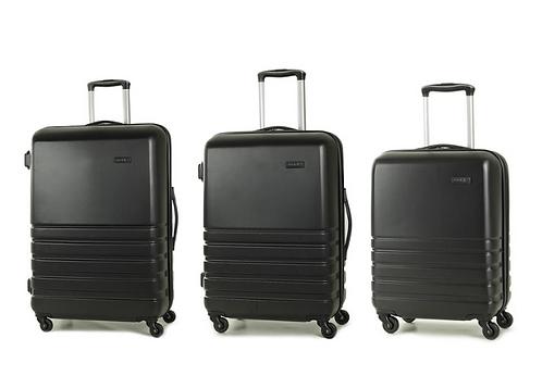 Rock Byron 3 Piece Hardside Suitcase Set in Black