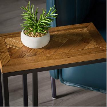 Rustic oak Herringbone Sofa Table