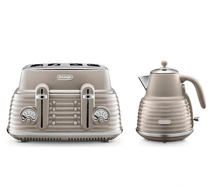 De'Longhi Scolpito Kettle & Toaster Set Champagne