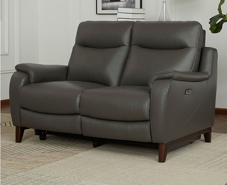 2 Seater Grey Leather Power Reclining Sofa with Power Headrests