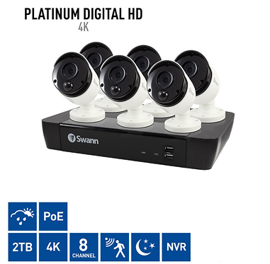 Swann 8 Channel 2TB NVR with 6 x 4K UHD IR Night & Thermal Security Cameras