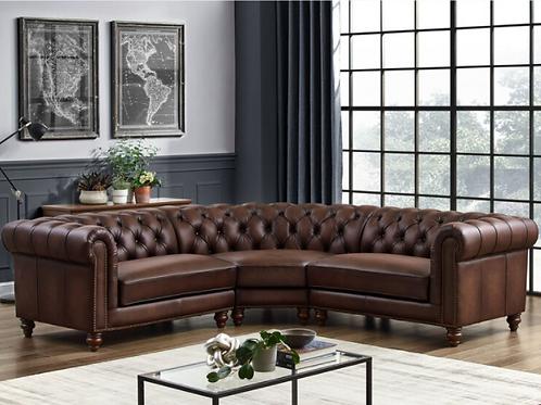 Allington Brown Leather Chesterfield Corner Sofa