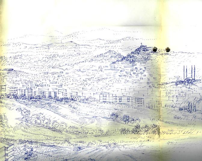 Vedat Dalokay, Kocatepe Camii silüet görünüş eskizi. Dalokay aile arşivi.