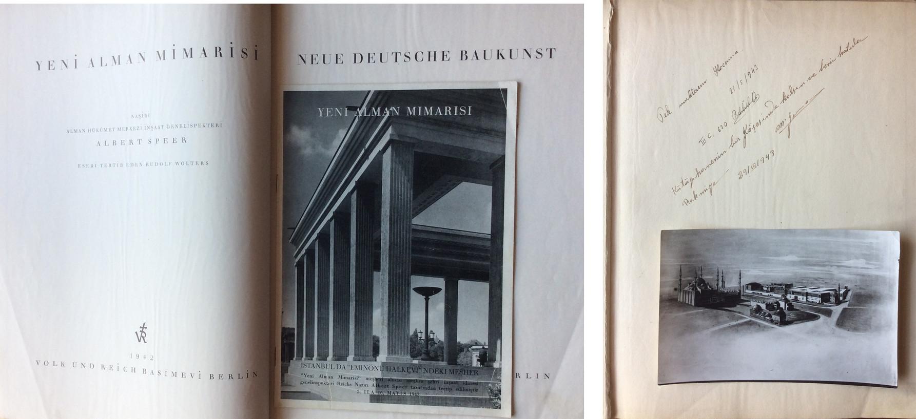 Rahmi Bediz'e hediye edilmiş Yeni Alman Mimarisi başlıklı kitabın baştaki sayfaları ve bir kartpostal. Kaynak: Ahmet Sezen Özsayın Arşivi.