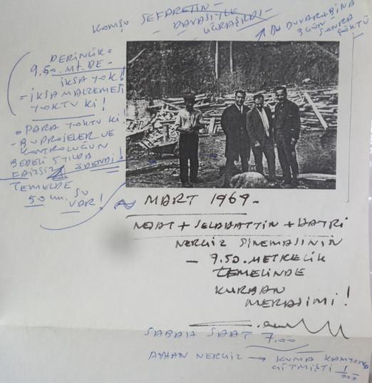 Nejat Tekelioğlu'nun Nergiz Sineması inşaatı sırasında tuttuğu notlar, 1969. Ayhan Nergiz arşivi.