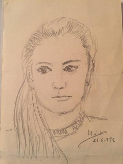 Nejat Tekelioğlu, Deniz Ünlü karakalem portresi, 1992. Tekelioğlu aile arşivi.