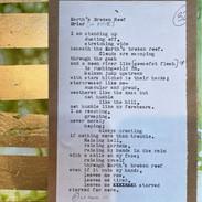 """Earth's Broken Roof"" | 2021 | Framed 8"" x 10"" | Original manuscript atop original work of art"