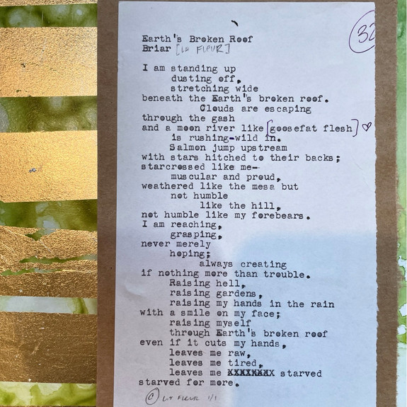 """Earth's Broken Roof"", 2021, framed 8"" x 10"", acrylic and original manuscript"