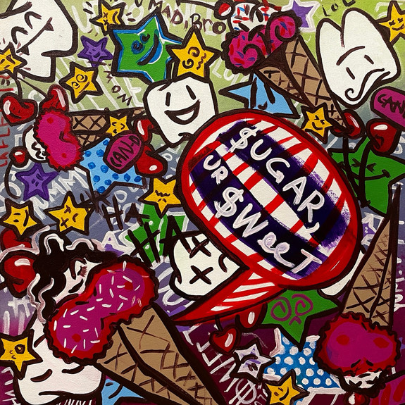 """""""Sweet Tooth Cavity"""", 2021, 24"""" x 24"""", acrylic on hand-stretched canvas"""