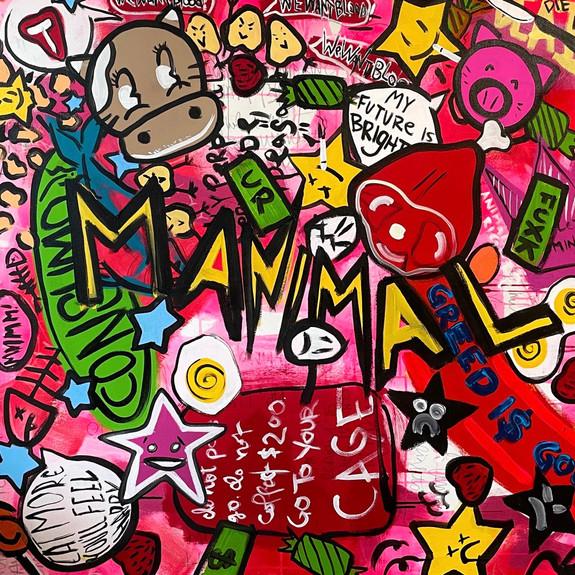 """P O R K C H O P [Animal Farm]"", 2021, 46"" x 46"", acrylic on canvas"