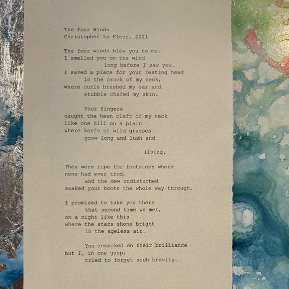 """The Four Winds"", 2021, framed 8"" x 10"", acrylic and original manuscript"