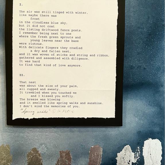 """Spring Walks"", 2021, framed 8"" x 10"", acrylic and original manuscript"