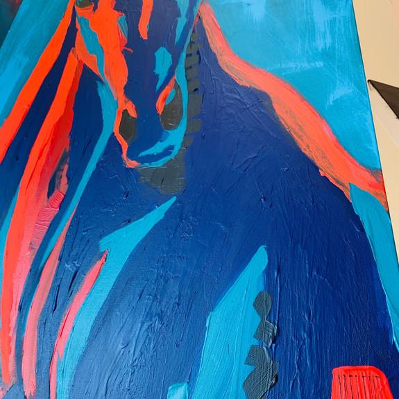 Detail of Maverick the Paint Pony, 2019