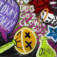 """Detail of """"Did U Go 2 Clown Skull?"""""""