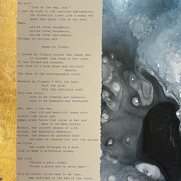 """N O M A D"", 2021, framed 8"" x 10"", acrylic and original manuscript"