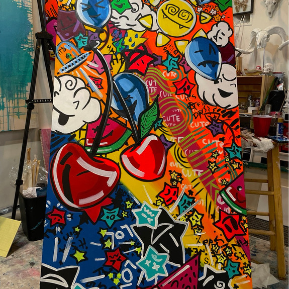 """""""Stargasm"""", 2021, 36"""" x 72"""", acrylic on hand-stretched canvas"""