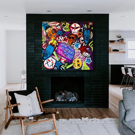 """Did U Go 2 Clown Skull?"", 2021, 48"" x 48"", acrylic on canvas"
