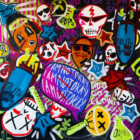 """""""Did U Go 2 Clown Skull?"""", 2021, 48"""" x 48"""", acrylic on hand-stretched canvas"""