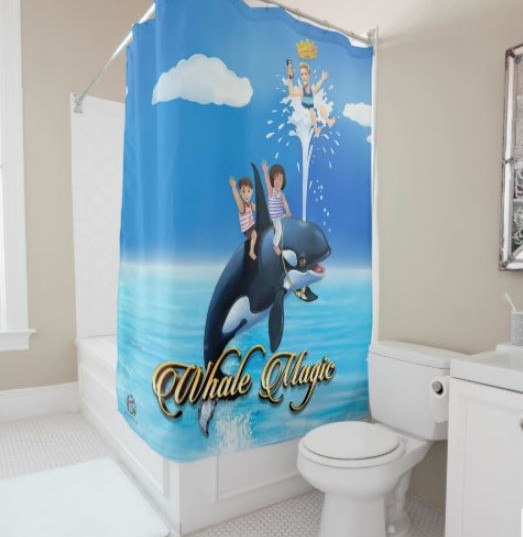 Shower Curtain Large Prince Patches D'Orca Whale Magic: A Whale of an Adventure