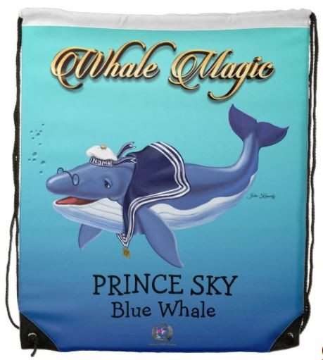Drawstring Backpack for Kids / Prince Sky, Blue Whale