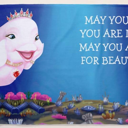 "Beach Towel Large Princess Eviana, Princess of Whales ""Beautiful Things..."""