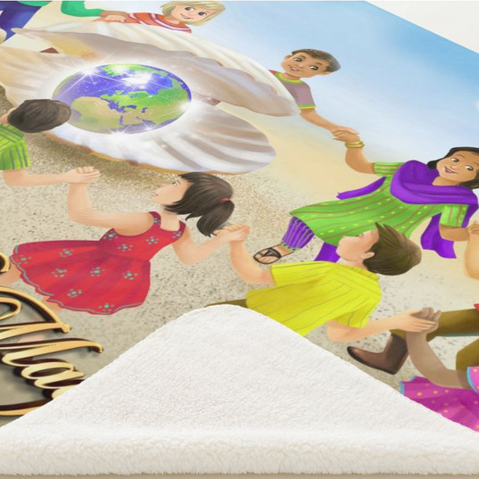Serpa Blanket / Magic Clam With Globe of the Earth / Children of the World Dancing Around It