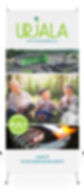 X-banneri, kevyt ja ketterä mainosteline roll-upin korvaajaksi.