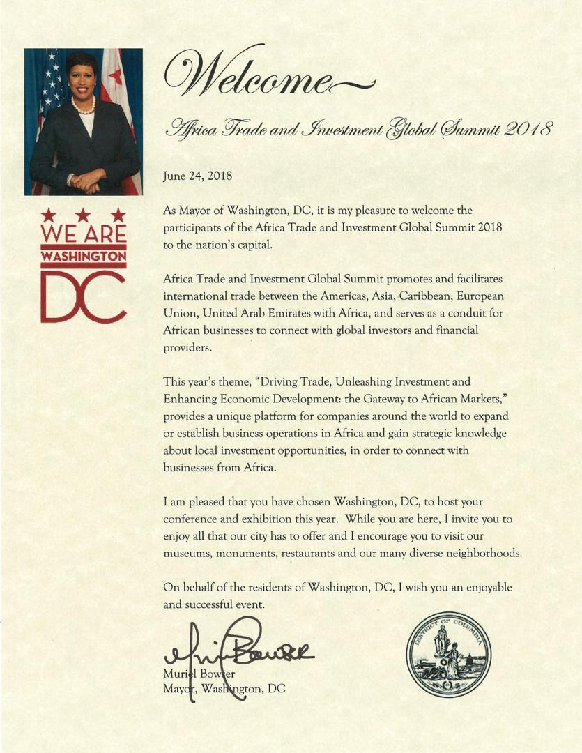 Mayor of Washington letter
