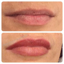 Full Lip Colour before and immediately after in the signature #aliciarose colour