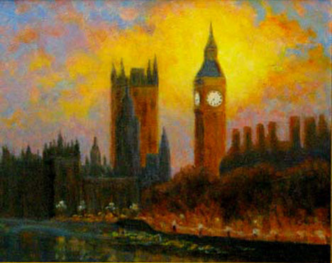 Big Ben Aglow 16x20