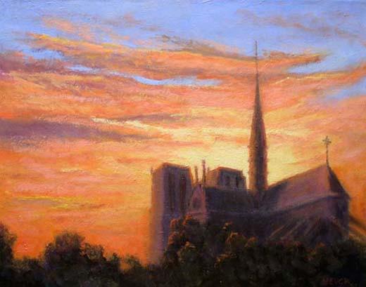 Evening Enfolds Notre Dame  16x20