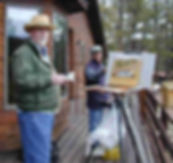 Kevin & Rog painting his pond.jpg