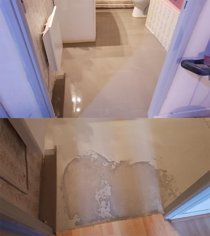 photo du haut / ragréage fraîchement réalisé - photo du bas / le même ragréage, saboté par un individu qui n'avais pas a être sur le chantier selon les DTU