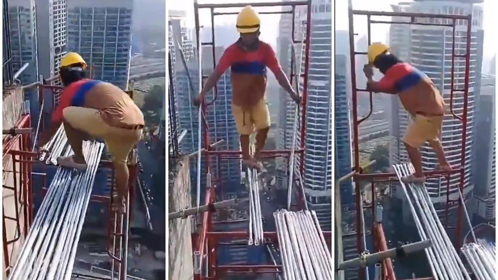 Images tirées d'une vidéo vue sur les réseaux sociaux, d'un ouvrier bâtissant un échafaudage en Malaisie, sans aucunes mesures de sécurités