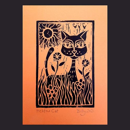 Meadow Cat, A5 flat print