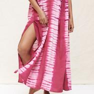 Delfina Farías cochineal Adire silk dress