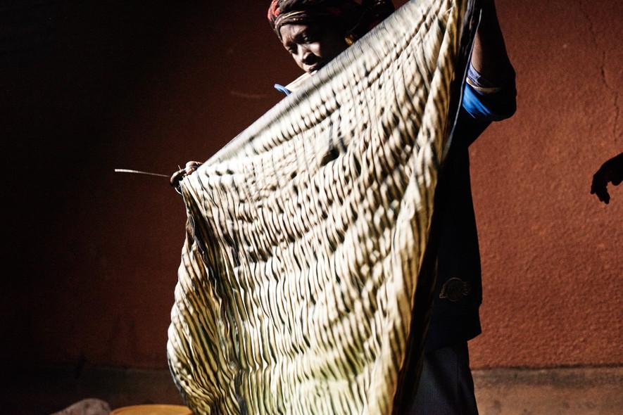 Fatoumata with indigo adire albara on wool