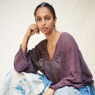 Susanne Goetz, eggplant skin and cochineal silk blouse worn by Asmeret Berhe-Lumax
