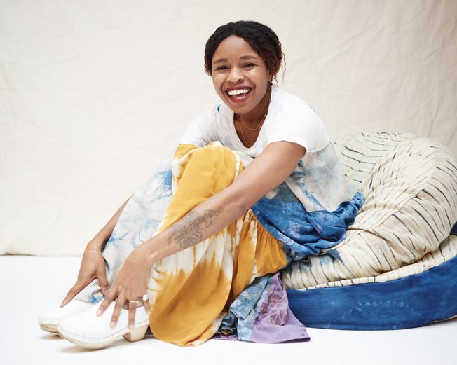 Sarah Nsikak - La Réunion patchworked dress and poufs