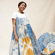 Sarah Nsikak (La Réunion), patchworked dress and poufs