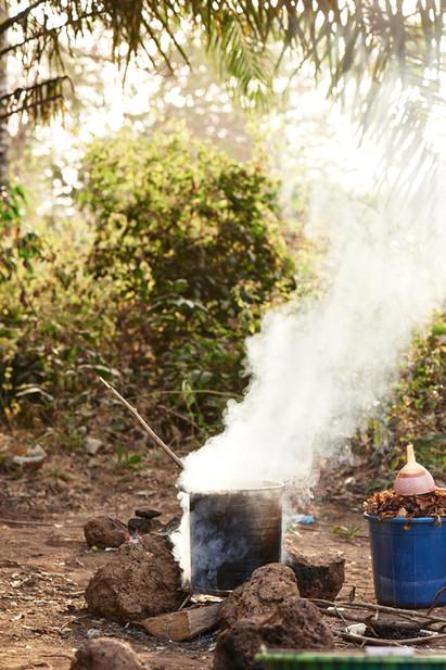 Dye pot heating on wood fire, Modiya