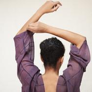 Susanne Goetz eggplant skin and cochineal silk blouse
