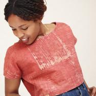 Mara Hoffman Easy Shirt in madder root batik worn by Sarah Nsikak