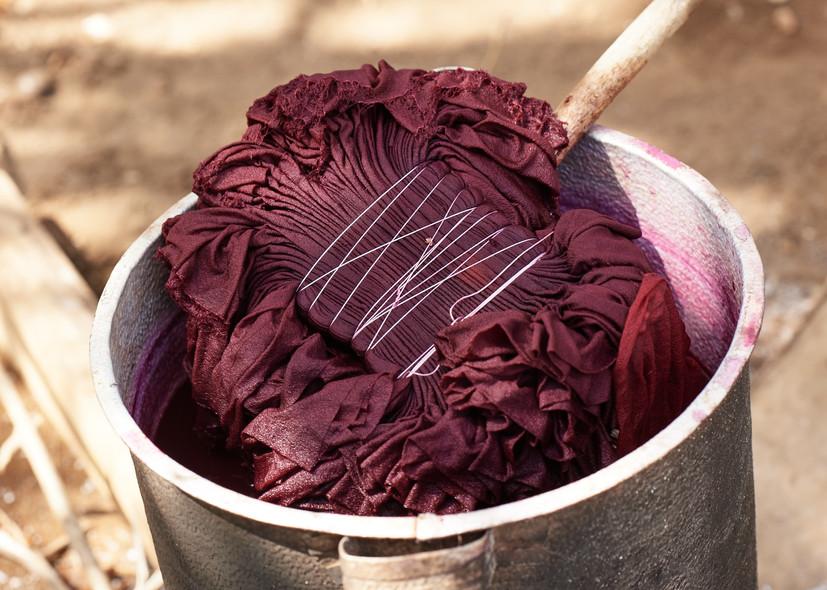 Adire albare on silk in cochineal dye bath