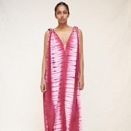 Delfina Farías, cochineal adire silk dress, worn by Asmerat Berhe-Lumax