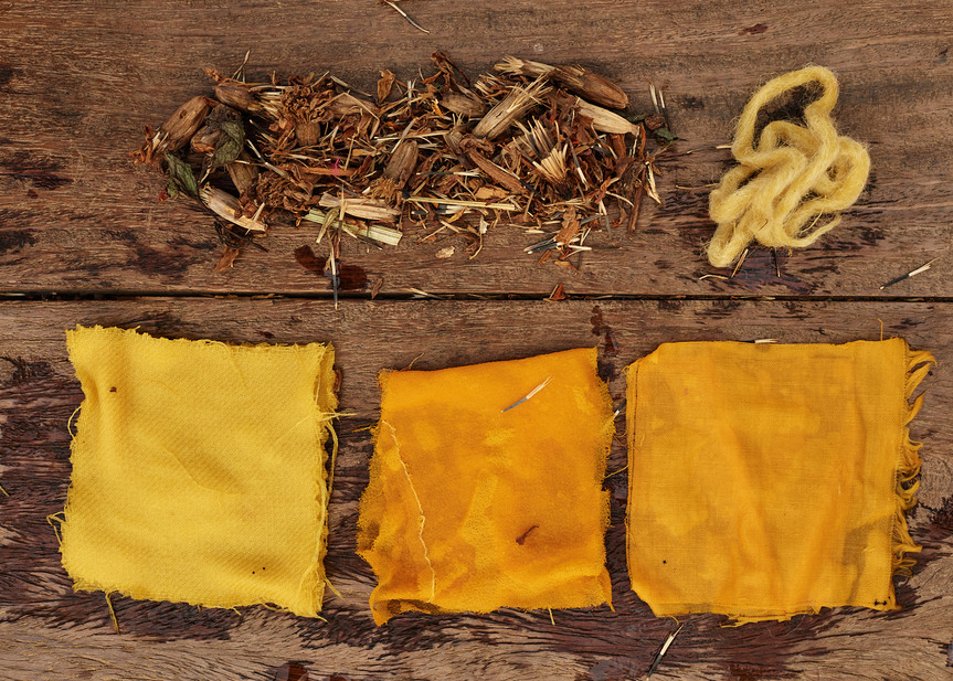 African marigold dyed textiles