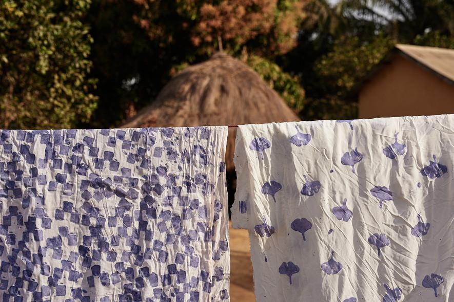 Adire eleko wax batik preparation on cotton