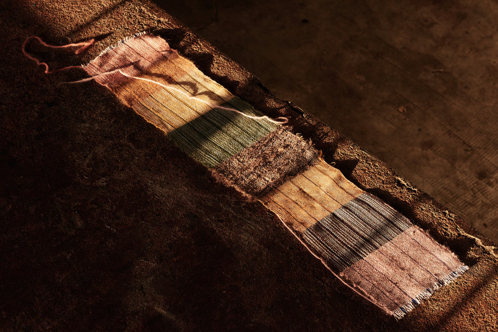 Strip Weave of Naturally Dyed Yarns by Zumana