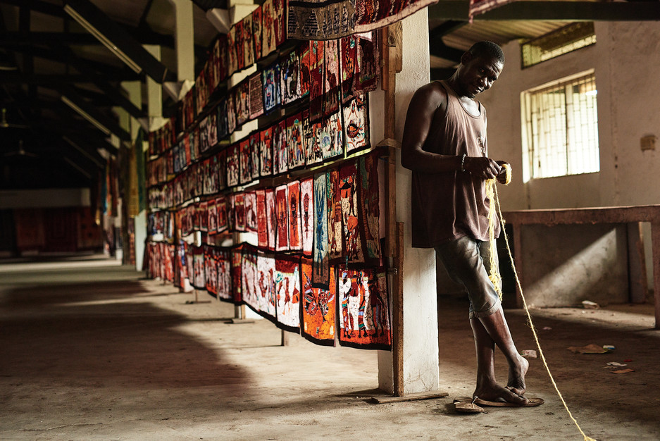 Batik Artist Renée Kra Konan in his workspace